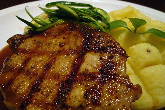 Escalope-of-pork-milanaise-style-with-spaghetti-of-courguettes-and-pickled-onion-mash